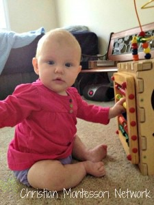 Toys and activities are beautiful in a Montessori infant home. ChristianMontessoriNetwork.com