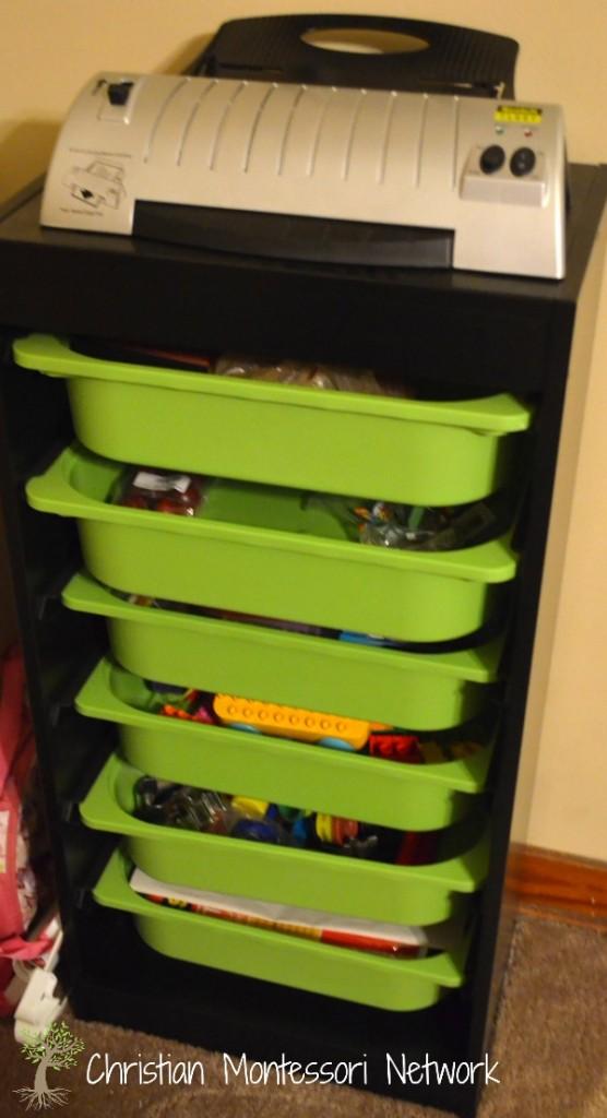 montessori home for toddlers, storage.