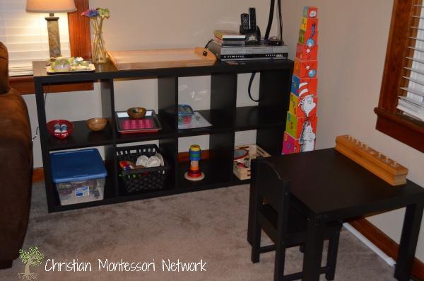 A toddler montessori living room area. www.ChristianMontessoriNetwork,com