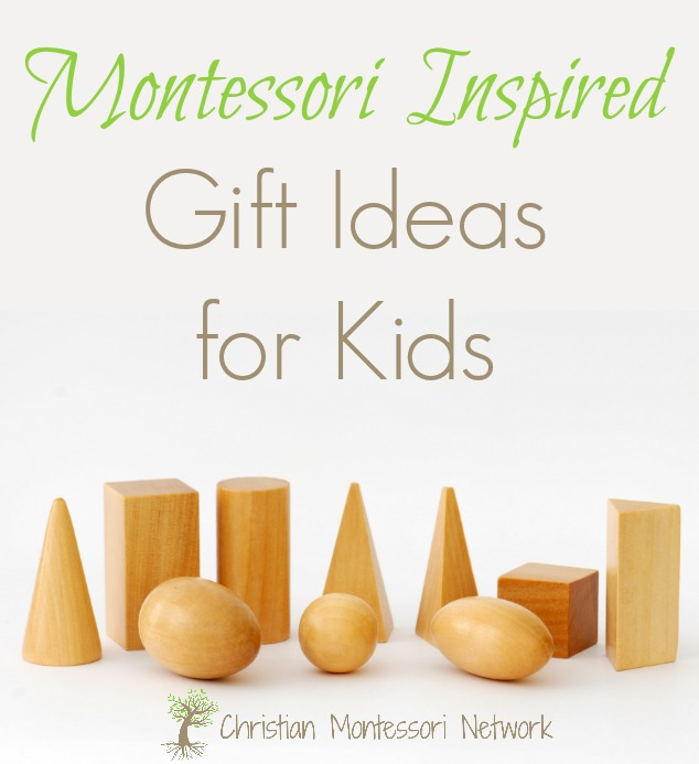 A list of Montessori inspired gift ideas for babies up to elementary age children. ChristianMontessoriNetwork.com