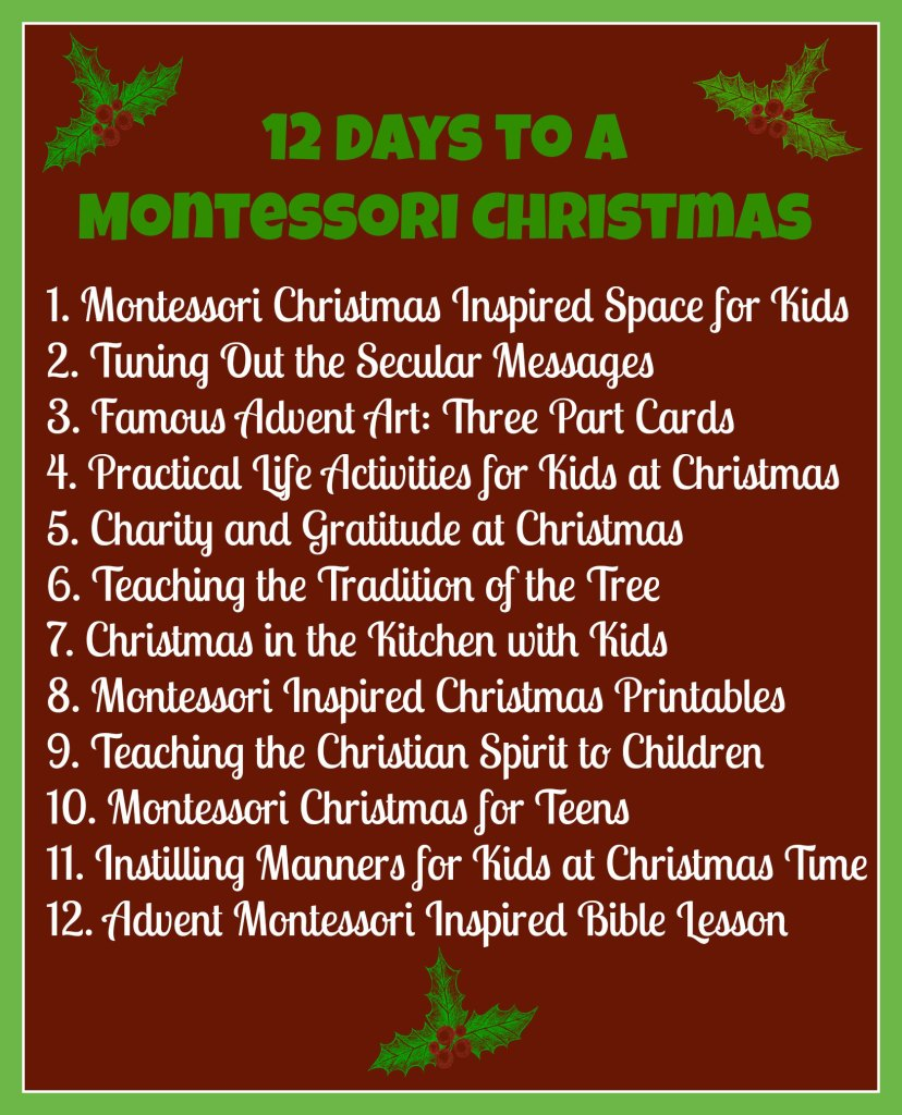 12 Days to a Montessori Christmas - ChristianMontessoriNetwork.com