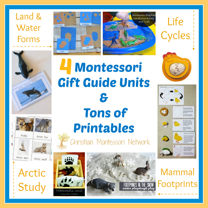 This is an amazing Montessori gift guide for unit studies with tons of free printables. These activities are perfect for the toddler and preschooler.  - ChristianMontessoriNetwork.com