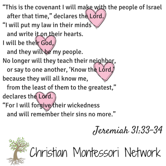 Jeremiah 31:33-34 free printable scripture card from Christian Montessori Network