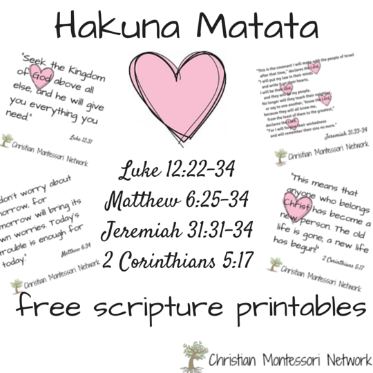 Hakuna Matata and the Bible: free scripture printables