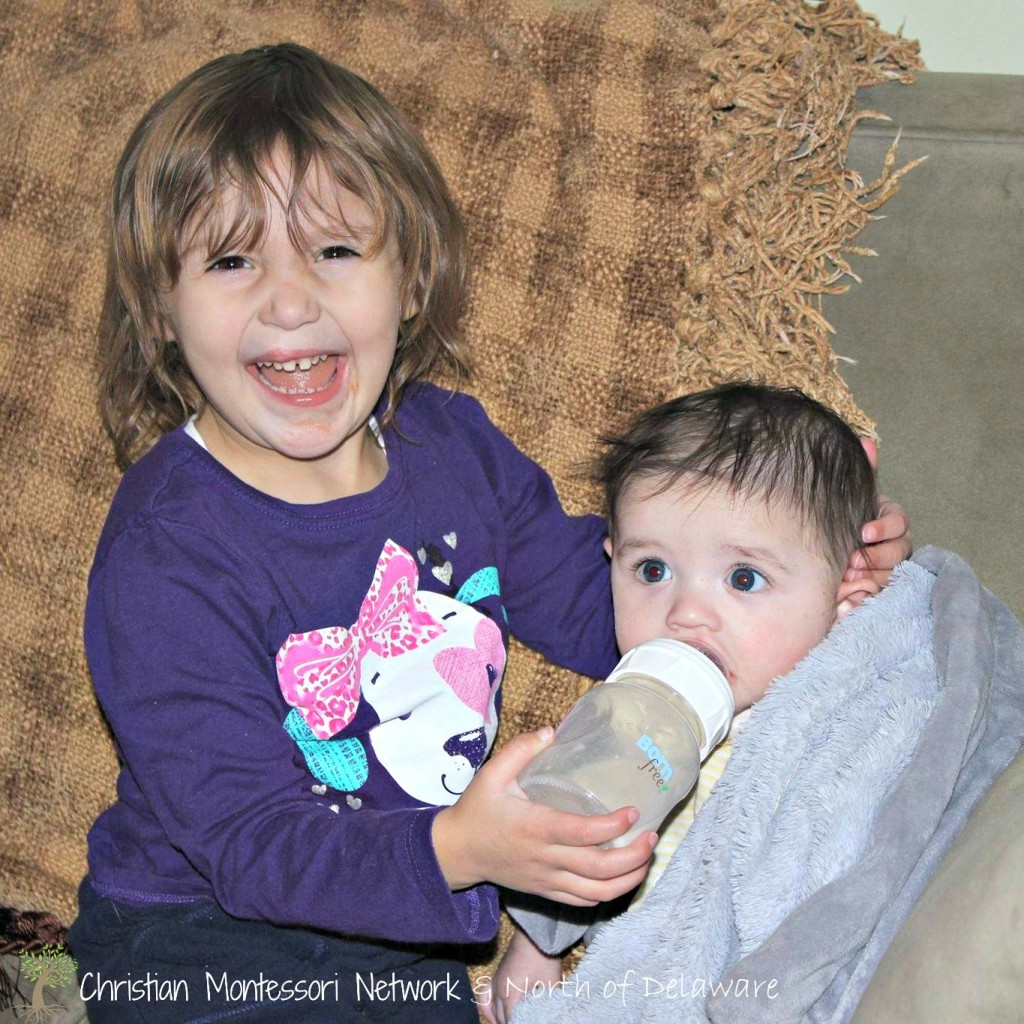 Siblings naturally want to help each other. Guest post from North of Delaware on ChristianMontessoriNetwork.com