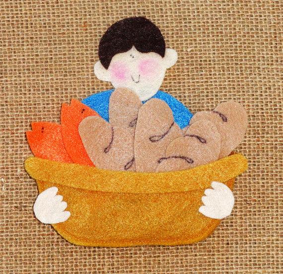 Montessori Inspired Kids Bible Activities - Jesus Feeds 5000 felt pattern