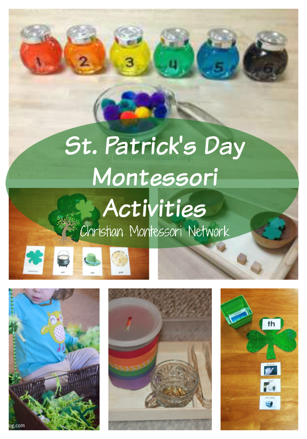 A list of fun St. Patrick's Day Montessori Activities for kids of all ages. www.ChrisitianMontessoriNetwork.com