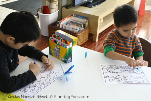 Montessori Inspired Kids Bible Activities - Day 2 creation coloring (Planting Peas)