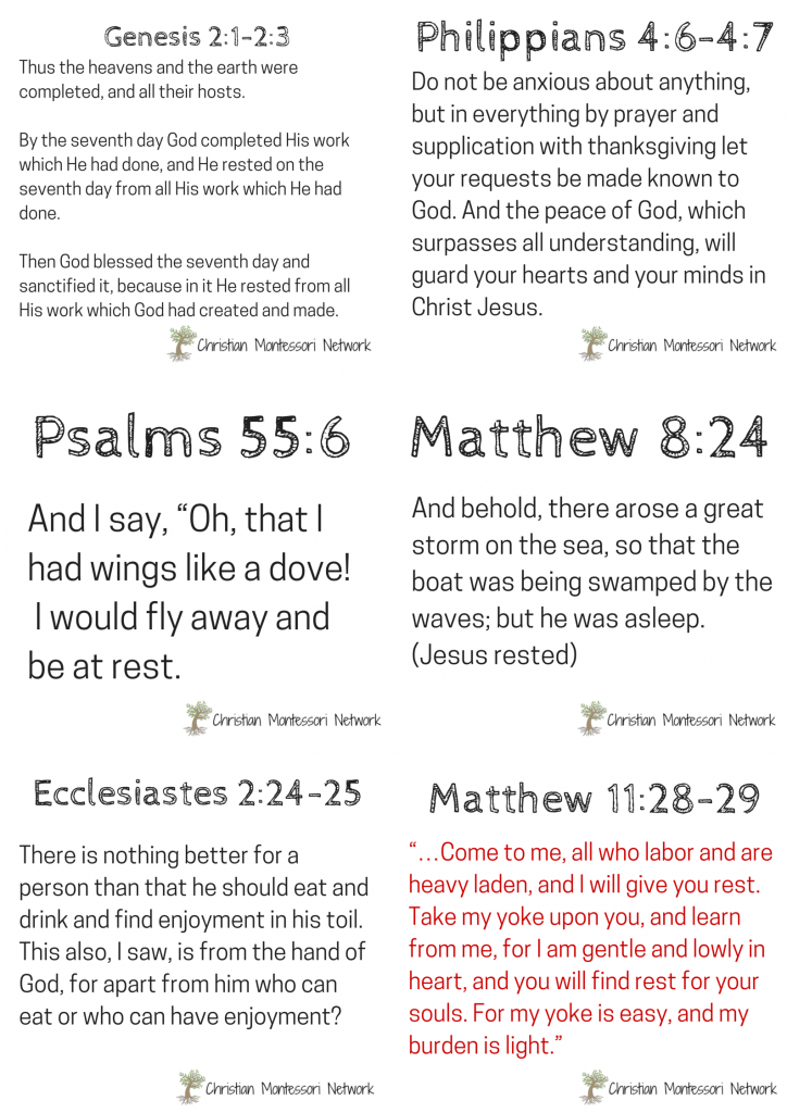 8 free scripture printables about peace & rest