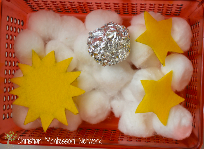sun, moon, and stars sensory tray