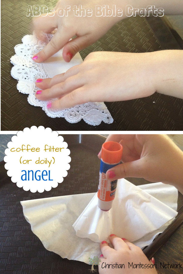 Coffee filter craft - A is for Angel