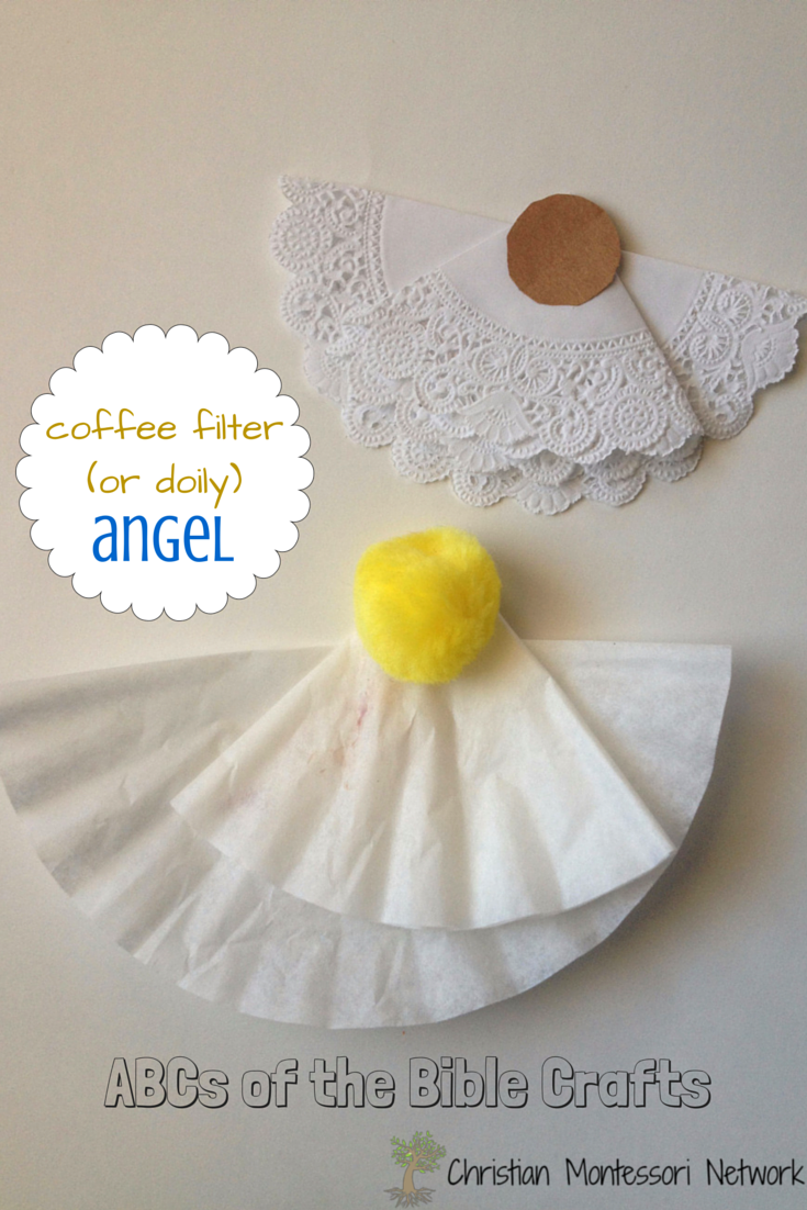 Coffee filter Angel Craft: Bible School Craft Ideas: ABCs of the Bible Crafts