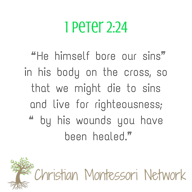 1 Peter 2-24 Free Printable Bible Verse shared along with a rose-covered cross craft for kids