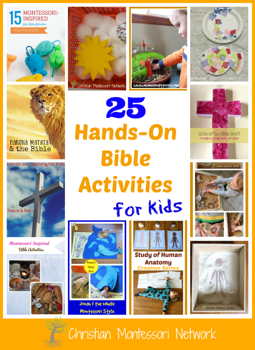 This is an amazing collection of over 25 plus hands-on Bible activities for kids to enjoy. Most activities are Montessori inspired and encourage learning. - ChristianMontessoriNetwork.com
