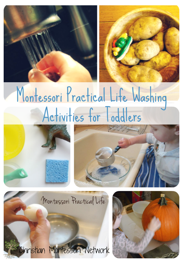 A fun list of Montessori practical life washing activities, perfect for toddlers. ChristianMontessoriNetwork.com