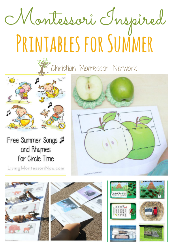 Free Montessori inspired printables for summer as featured on the Learn & Play Link up party. ChristianMontessoriNetwork.com