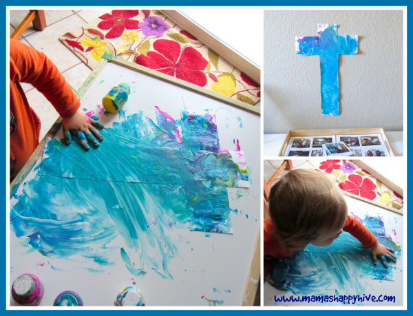 Finger Paint Cross - www.mamashappyhive.com