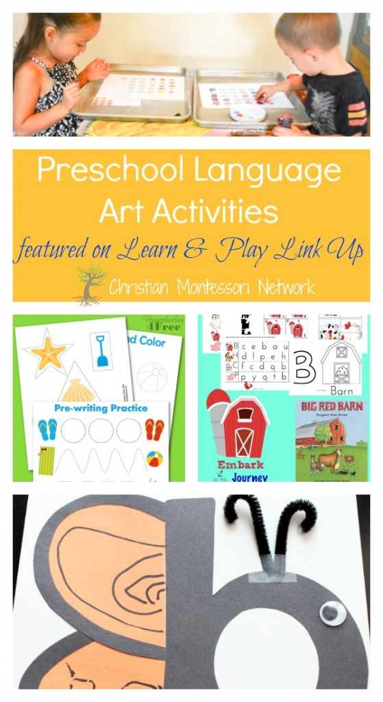 My kids love language arts work! Great list of language art activities for preschoolers on ChristianMontessoriNetwork.com