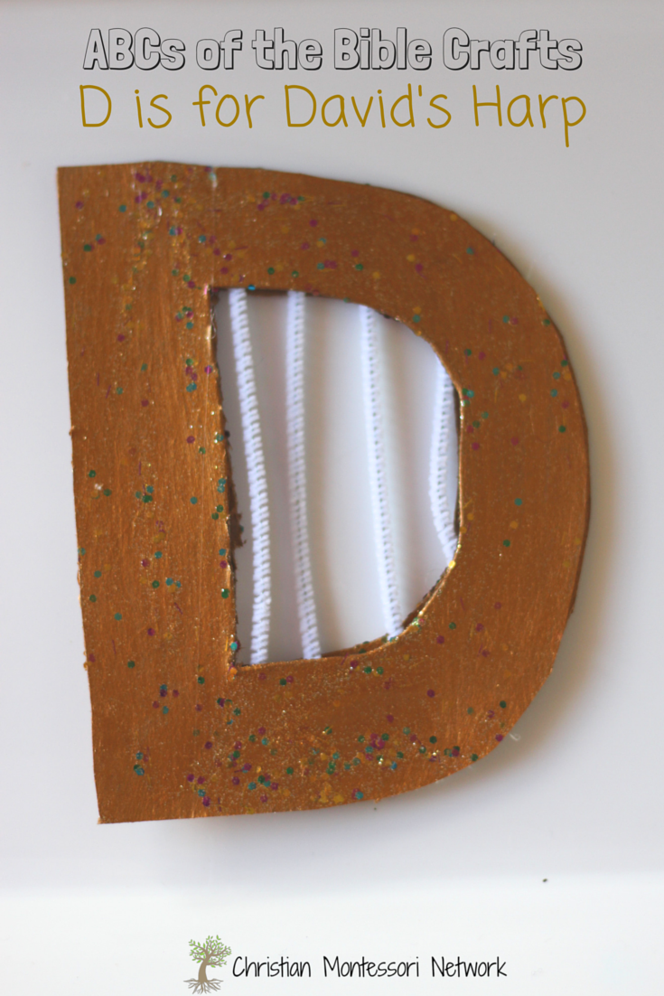 ABCs of the Bible Crafts: D is for David's Harp. An easy craft to do after learning about King David, and possibly a safer craft than slingshot! Part of a great series of bible craft ideas for kids - the ABCs of the Bible Crafts. Check them all out.