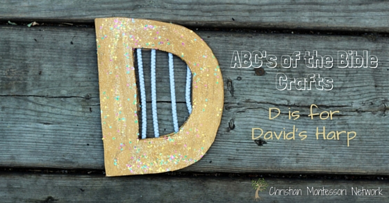 Bible School Craft Ideas: D is for David's Harp craft as part of the ABCs of the Bible Crafts series. Learn about King David with this easy bible craft idea