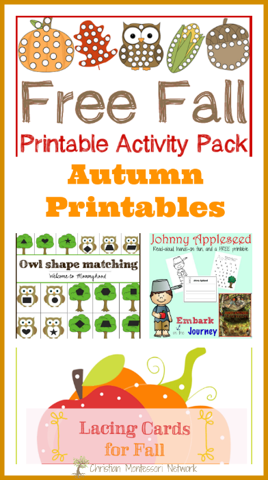A fun collection of autumn printables for toddlers and preschoolers to enjoy this fall season. Bloggers, come join our awesome Learn & Play link up party! - ChristianMontessoriNetwork.com