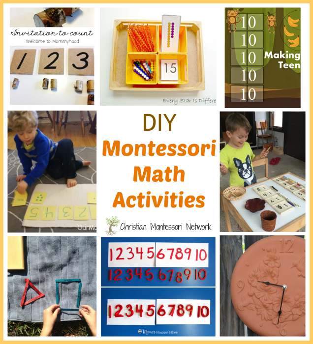 "Enjoy a fun collection of DIY Montessori math activities and please join our ""Learn & Play"" Thursday link party! - ChristianMontessoriNetwork.com"