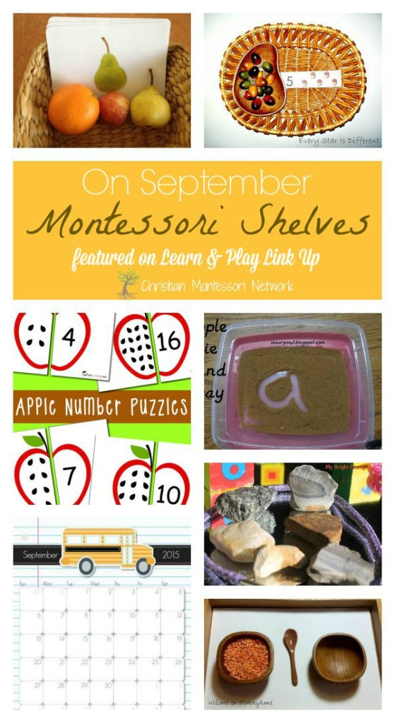 September Montessori Shelves ideas on ChristianMontessoriNetwork.com as apart of the Learn & Play Link Up!