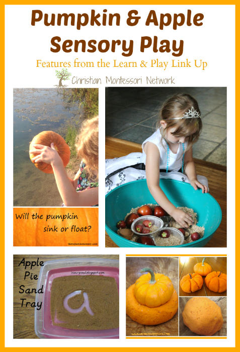 "Enjoy a fun collection of pumpkin and apple sensory play! Also, the ""Learn & Play"" link up party! Please come share your blog posts with us. :) - ChristianMontessoriNetwork.com"