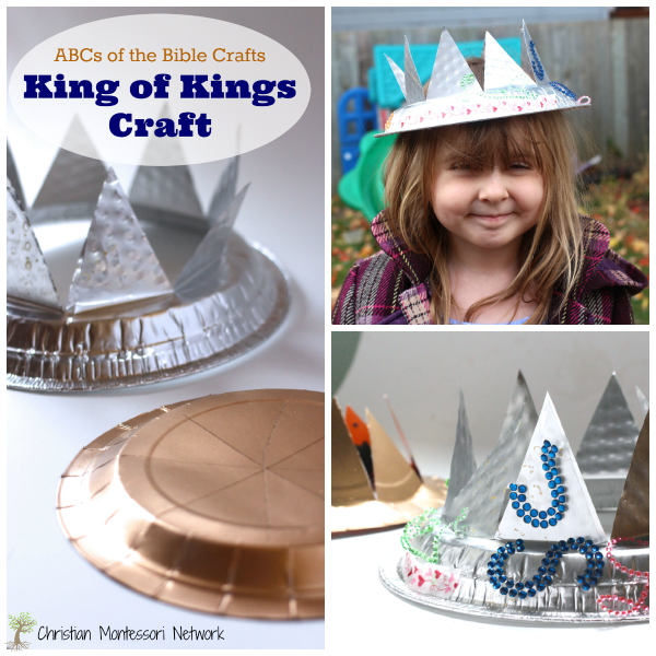 A wonderful crown craft for the ABC's of the Bible Craft Series. K is for King of Kings craft is made from a pie plate or paper plates with embellishments. - ChristianMontessoriNetwork.com