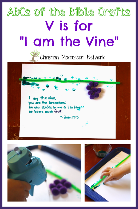 A beautiful mixed-media picture gift for V is for the Vine craft. This is part of the ABCs of the Bible Craft Series. - ChristianMontessoriNetwork.com