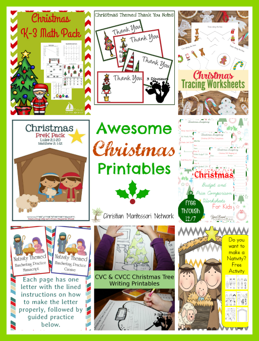 "An amazing list of awesome Christmas printables for kids to enjoy this holiday season! Plus, a ""Learn & Play"" link up party! - ChristianMontessoriNetwork.com"