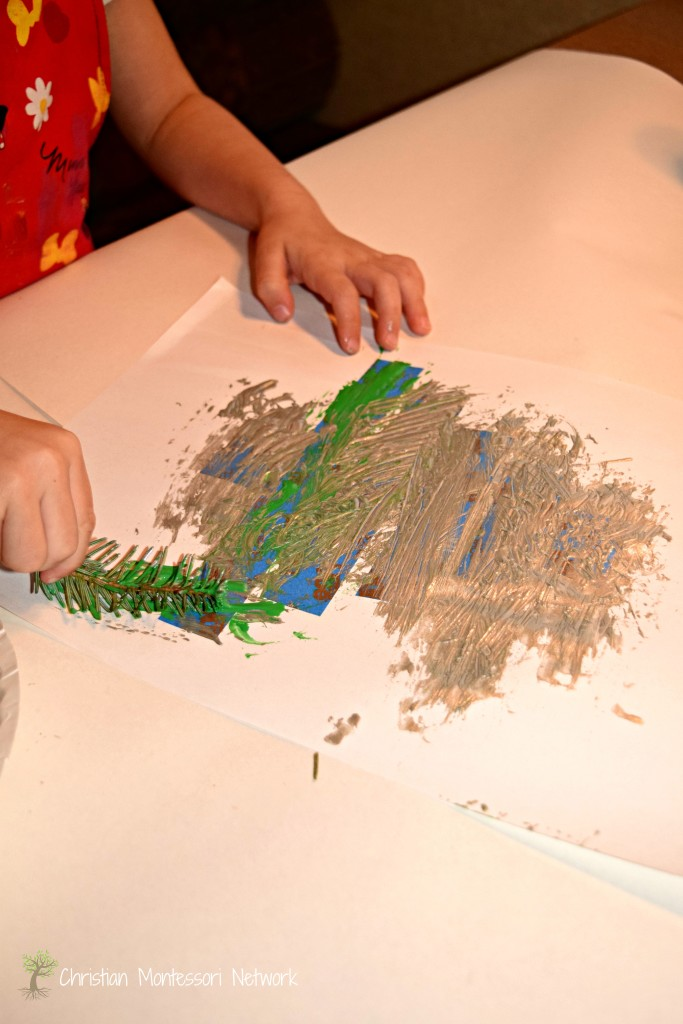 Painting with fir tree