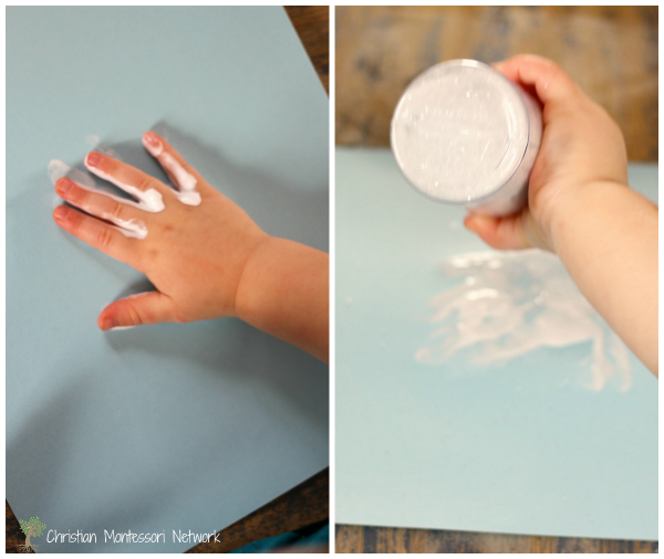 Don't forget the glitter for this Peace Dove hand print craft