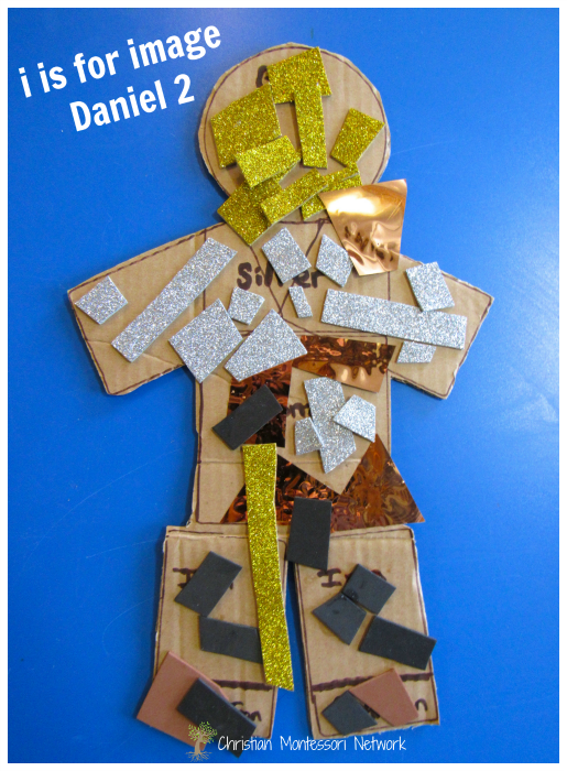 "A paper craft activity using shapes and preschool scissor cutting skills for, ""i is for the image of Daniel 2."" This is part of the ABCs of the Bible Craft series. - ChristianMontessoriNetwork.com"