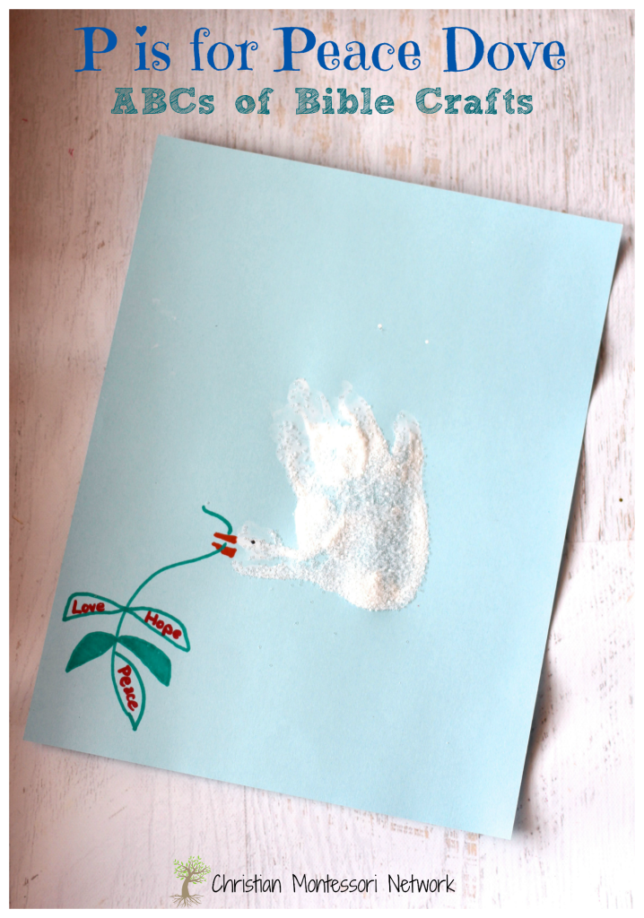 P is for Peace Dove Hand print craft - an easy Bible School craft idea that works equally well in the home