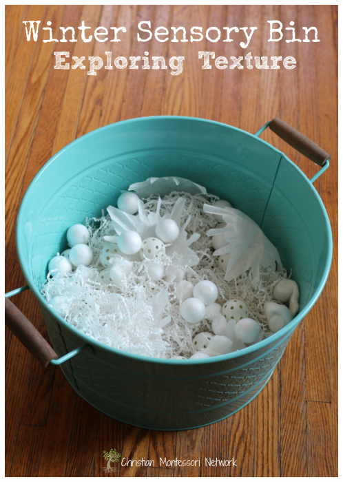 Winter Sensory Bin for Exploring Textures - an easy sensory activity for toddlers following the Montessori principle of isolation