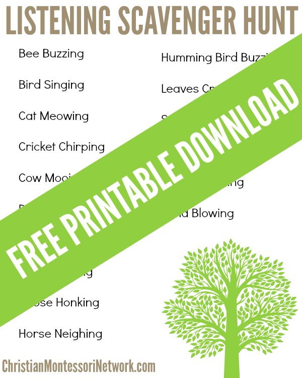 Listening Scavenger Hunt for kids, comes with a free printable download.