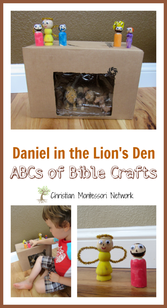 This easy cardboard box lion's den with wooden peg people can be put together in 30 minutes and provides loads of fun for a toddler or preschool aged child. Perhaps even an older child would love it! - ChristianMontessoriNetwork.com