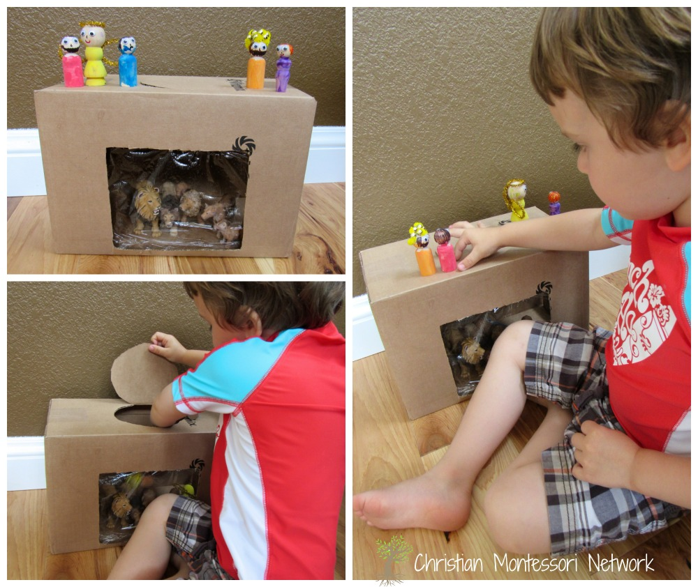 Daniel in the Lion's Den - This easy cardboard box lion's den with wooden peg people can be put together in 30 minutes and provides loads of fun for a toddler or preschool aged child. - ChristianMontessoriNetwork.com