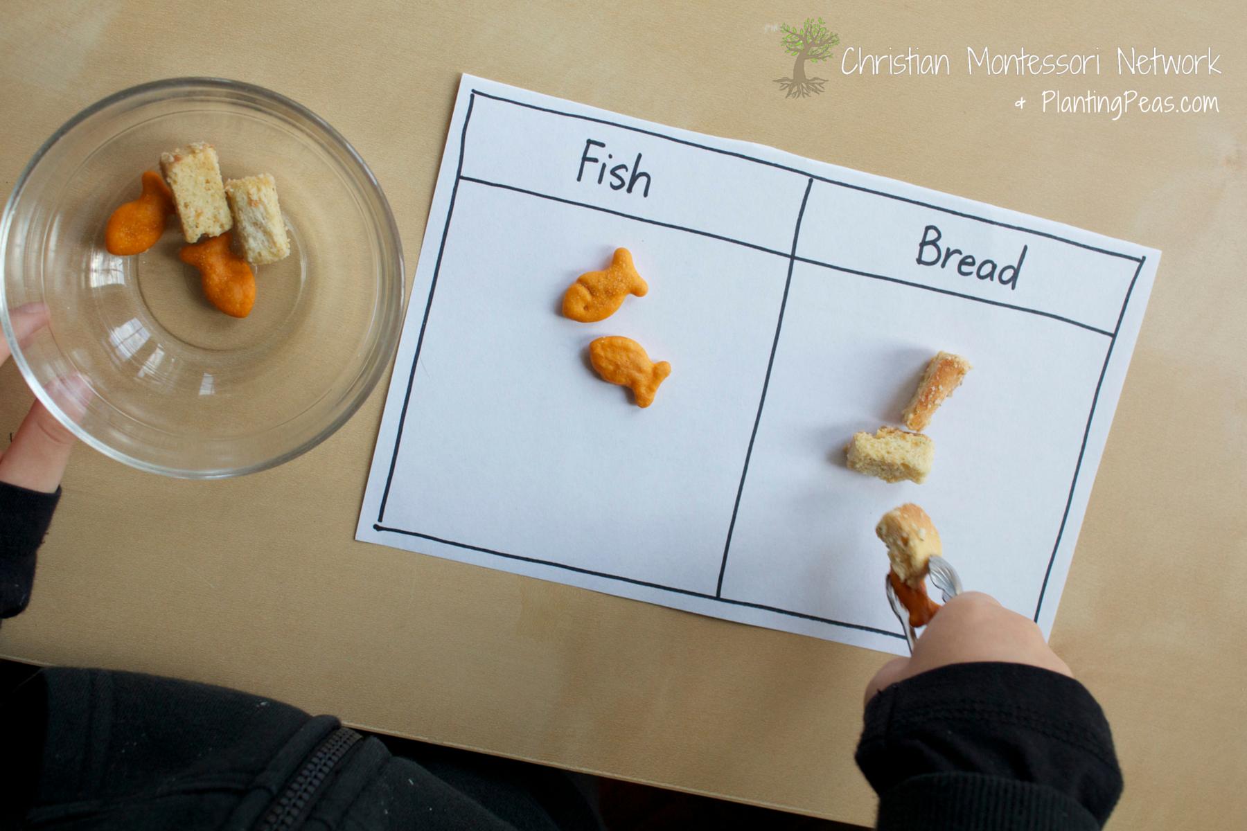 Bible craft for preschoolers - Childrens Bible Crafts Montessori Inspired Kids Bible Activities Jesus Feeds 5000 Fish Bread Sorting Activity