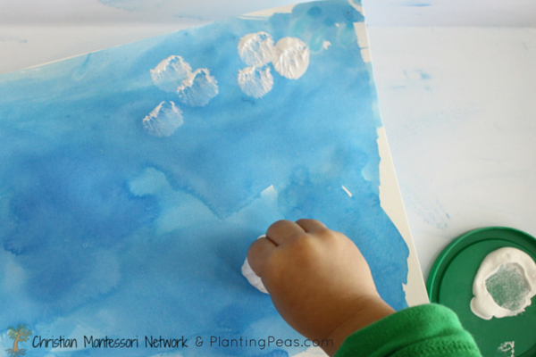 Montessori Inspired Kids Bible Activities - Cloud painting with cotton ball (Planting Peas)