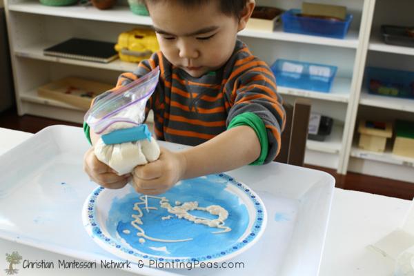 Montessori Inspired Kids Bible Activities - puffy paint (Planting Peas)