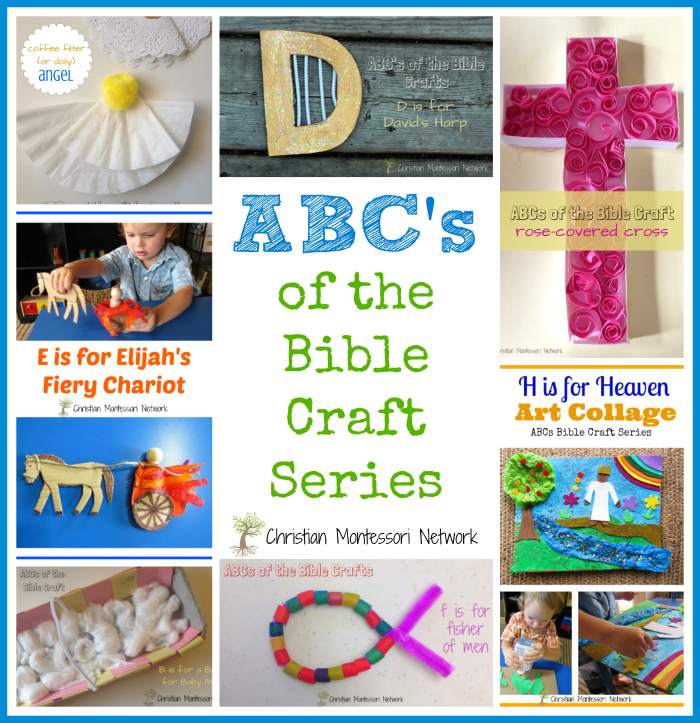 This is a fun collection of hands-on ABCs of Bible Crafts for kids of all ages to enjoy. These crafts help children learn by creating and playing. - www.christianmontessorinetwork.com