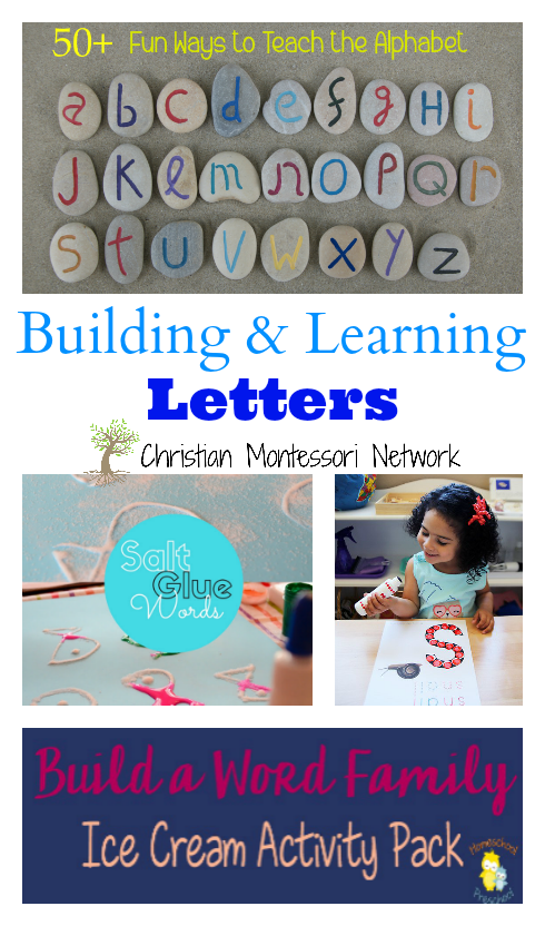 This collection of building and learning letters includes 50+ ways to teach the alphabet, salt glue word building, free snail (letter S) do-a-dot printable, and build a word ice cream printable activity pack. - www.christianmontessorinetwork.com