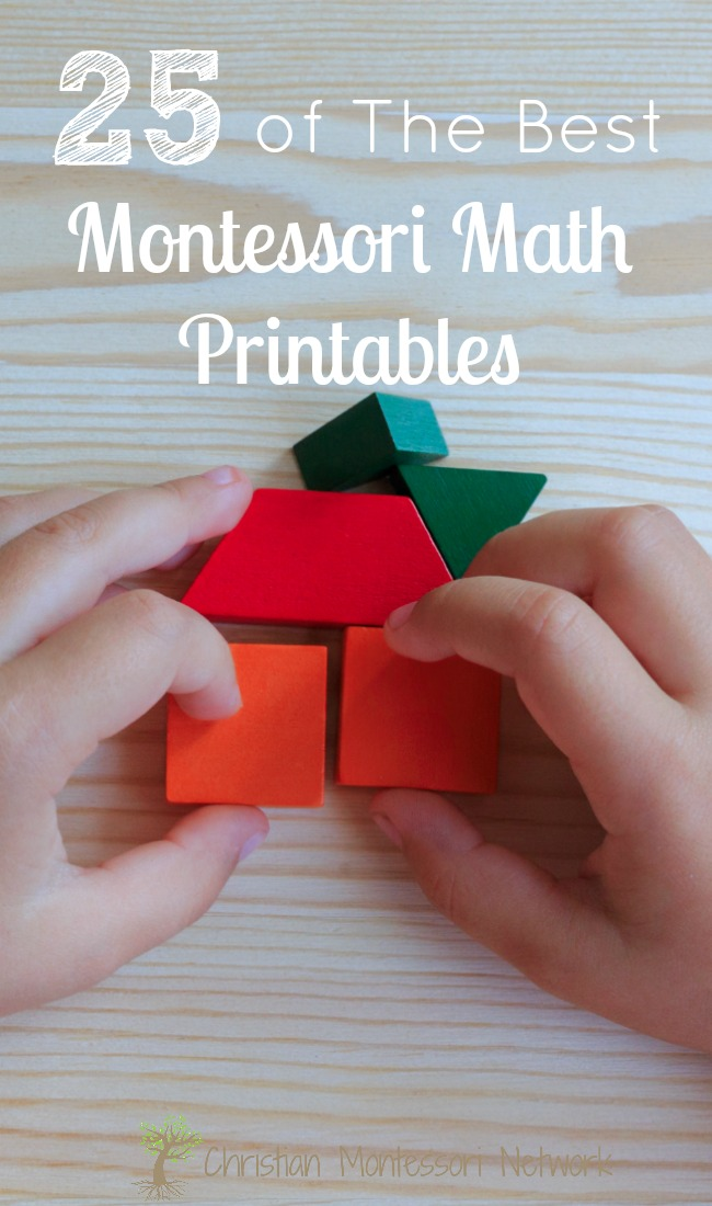 Montessori math on the 12 Months of Montessori Learning. 25 Montessori math printables you should download today! Montessori inspired math ideas for your homeschool or classroom.