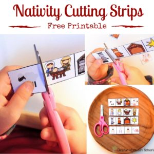 Nativity Scene Cutting Strips for Toddlers and Preschoolers