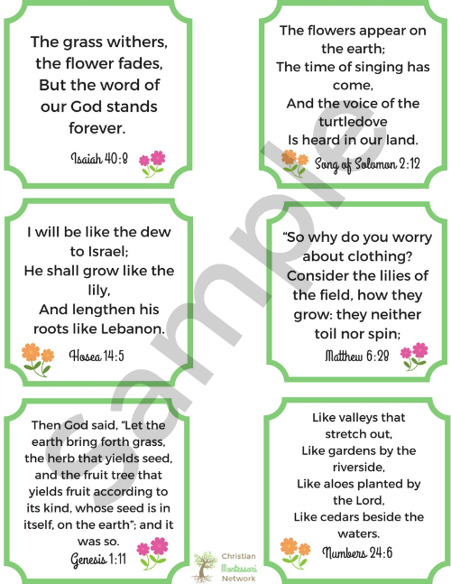 Flower Bible verse cards sample
