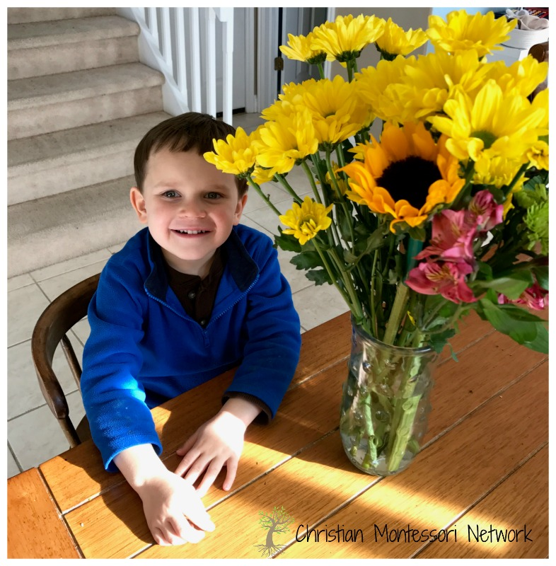 Montessori flower arranging, a practical life skill.